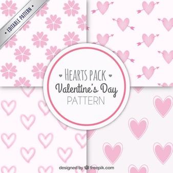 Pacote padrões de corações cor de rosa