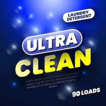 Pacote para detergente para a roupa. rótulo de modelo para sabão em pó. ilustração.
