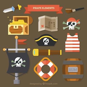 Pacote, pirata, elementos, liso, desenho