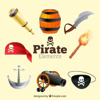 Pacote, pirata, itens, realístico, desenho