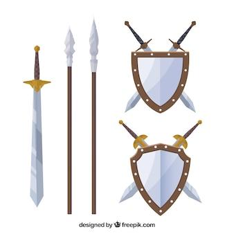 Pacote plano de armas medievais
