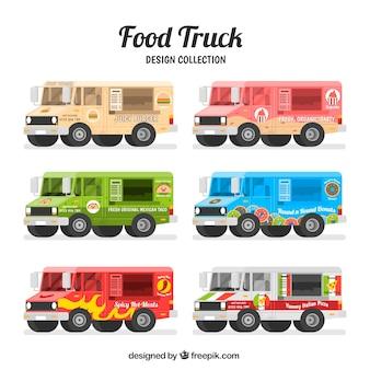 Pacote plano de caminhões de alimentos coloridos