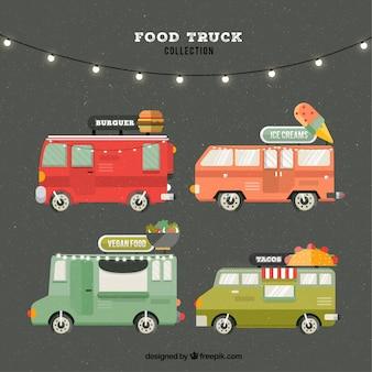 Pacote plano de caminhões de alimentos modernos