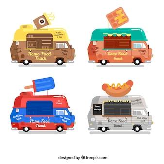 Pacote plano de caminhões de comida clássicos