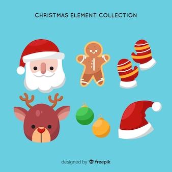 Pacote plano de elementos de natal