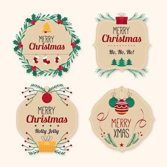 Pacote plano de etiquetas de natal