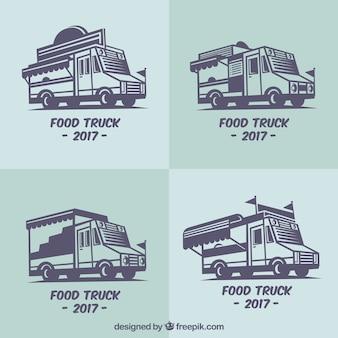 Pacote plano de logotipos reais de caminhões de alimentos
