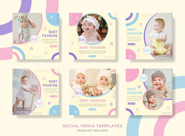 Pacote pós banner para moda bebê fofo.