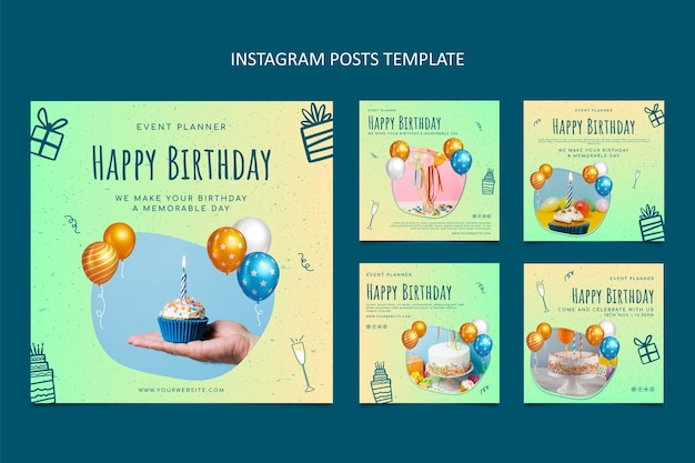 Pacote postal ig de aniversário com textura gradiente