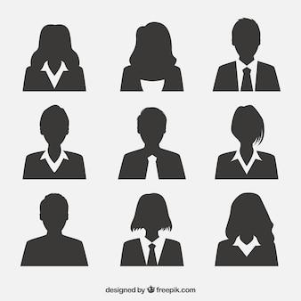 Pacote profissional de avatares de silhueta