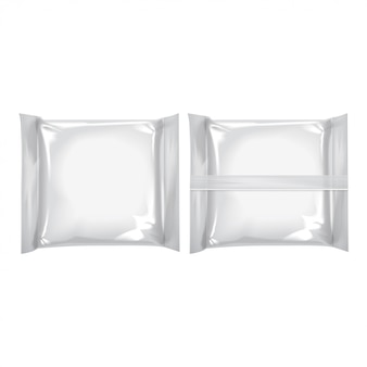 Pacote quadrado branco com queijo, comida, lanches