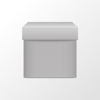 Pacote quadrado de caixa branca d cubo em branco realista
