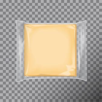 Pacote quadrado transparente com queijo, lanches, comida Vetor Premium