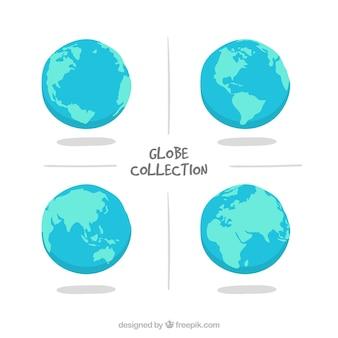 Pacote, quatro, mão-drawn, terra, globos, azul, tons