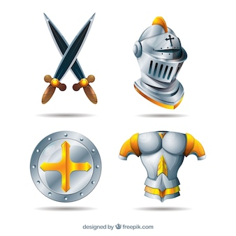 Pacote realista de guerreiro medieval