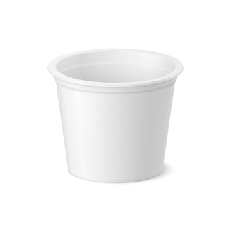 Pacote realista de iogurte, sorvete ou creme azedo