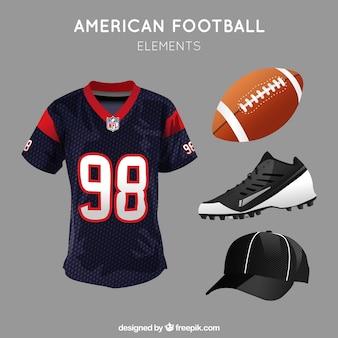 Pacote realista de itens de futebol americano