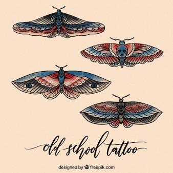 Pacote realista de tatuagens de borboletas