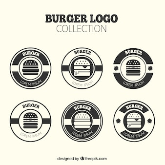 Pacote, redondo, hamburguer, logotipos