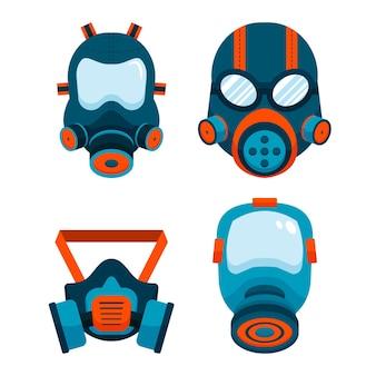 Pacote respiratório com máscara de gás