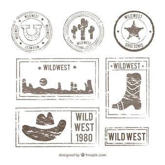 Pacote retro de selos selvagens do oeste posteres
