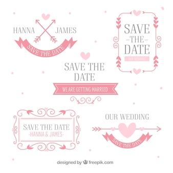 Pacote rosa de etiquetas de casamento planas