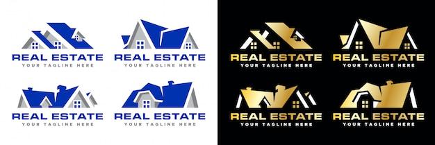 Pacote simples de logotipo imobiliário moderno