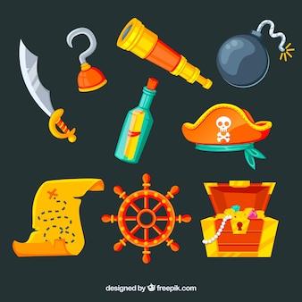 Pacote, tesouro, mapa, pirata, elementos
