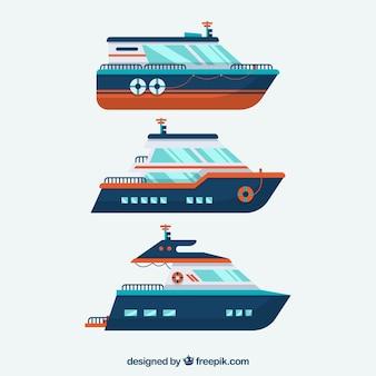 Pacote, três, barcos, apartamento, desenho