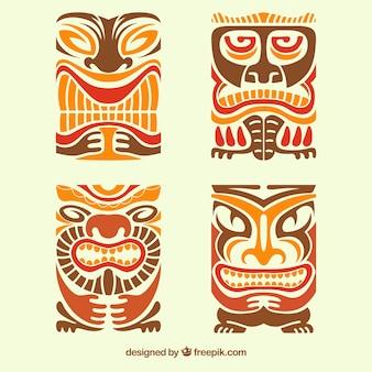 Pacote tribal de máscara tiki
