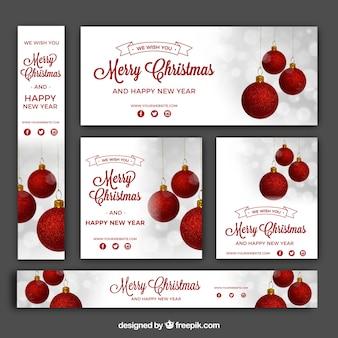 Pacote vintage de banners de natal