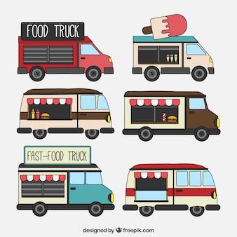Pacote vintage de caminhões de comida desenhados a mão