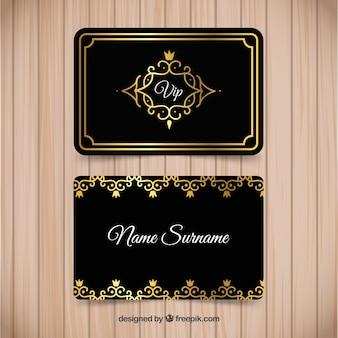 Pacote vintage de cartões vip dourados