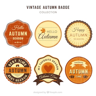 Pacote vintage de emblemas de outono