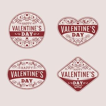 Pacote vintage de emblemas do dia dos namorados