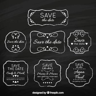 Pacote vintage de etiquetas de casamento de quadro-negro