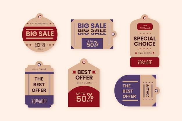 Pacote vintage de etiquetas de vendas com descontos