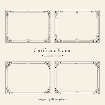 Pacote vintage de quadros de certificado