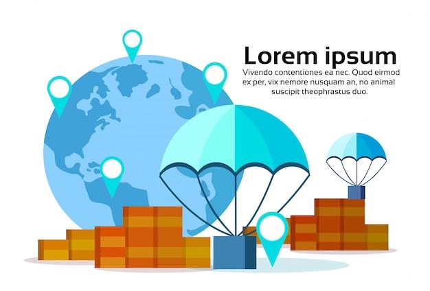 Pacote voando pára-quedas mundo mapa geo tag caixa serviço de entrega conceito