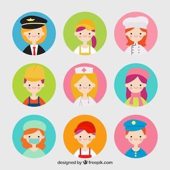 Pacotes bonitos de avatares de trabalhos