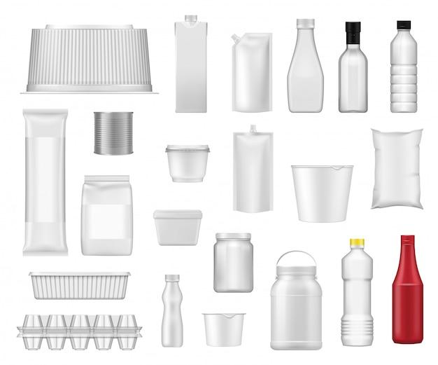 Pacotes de alimentos, embalagens de produtos realistas