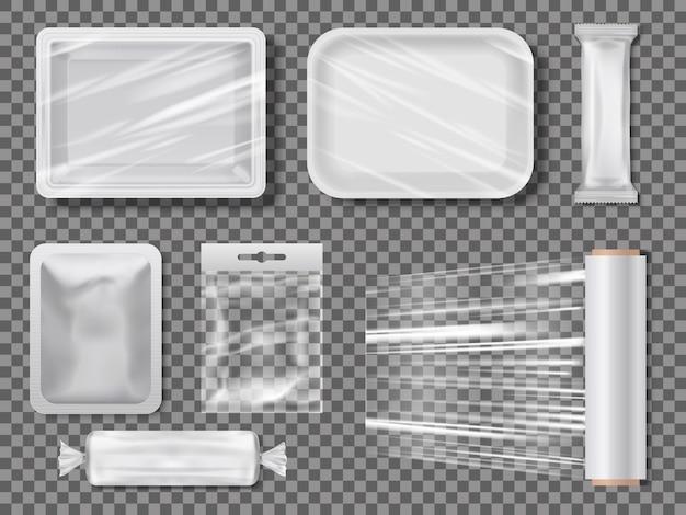 Pacotes de alimentos transparentes de polietileno.