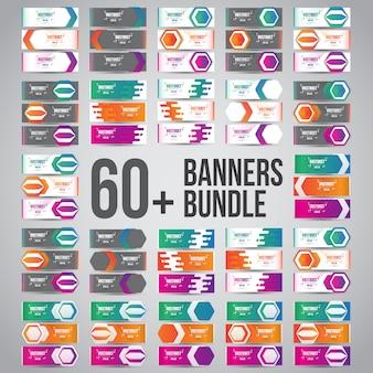 Pacotes de banners de design abstrato de vetor