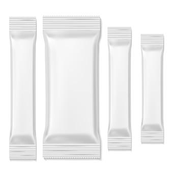 Pacotes de barra de chocolate. embalagem de biscoitos branca varas lanches de comida, furar modelo em branco. embalagem realista promocional