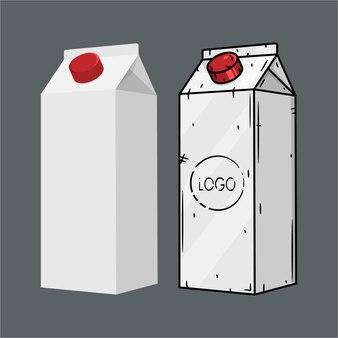 Pacotes de caixa de leite ou suco em branco branco.