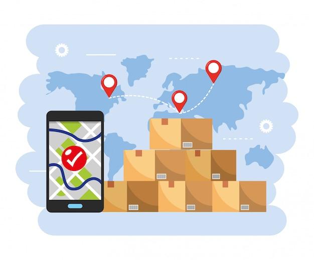 Pacotes de caixas com localização do mapa do smartphone gps