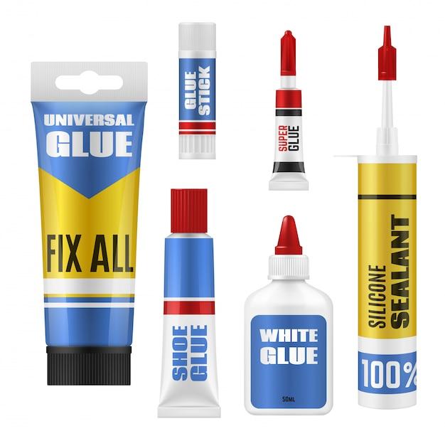 Pacotes de cola com maquetes de tubo, tubo e garrafa