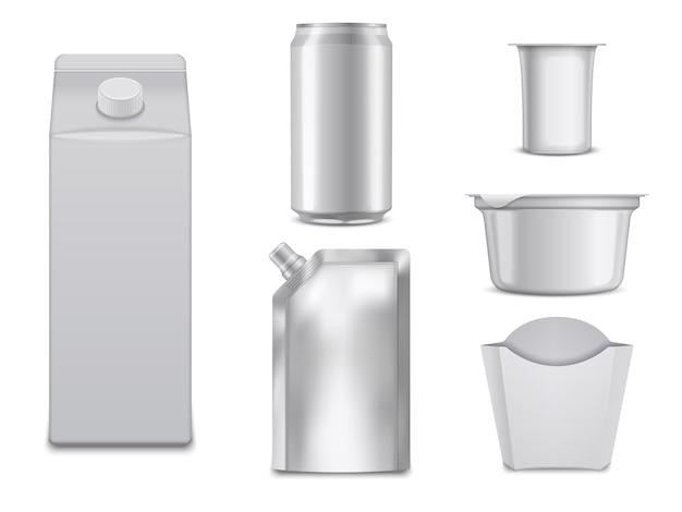 Pacotes de comida vazios. caixas brancas e recipientes.