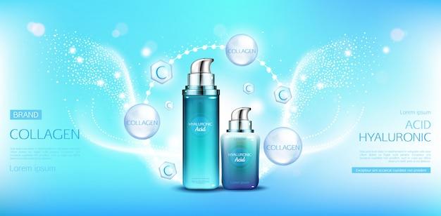Pacotes de cosméticos de colágeno com ácido hialurônico