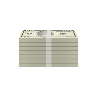 Pacotes de ícone isométrica de notas de dólar